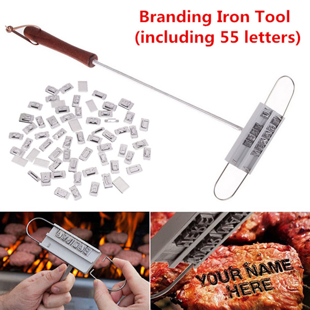 DIY BBQ Barbeque Grill Branding Iron Tool Changeable 55 Letter Meat Steak Burger