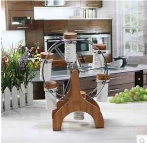 Bamboo Ferris Wheel Rotating Rack Spice & Pepper Shakers kitchen tools