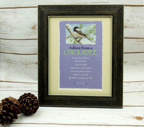 Advice from a Chickadee Framed Mini Matted Print