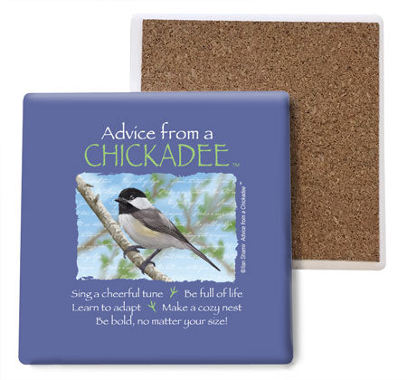 Advice from a Chickadee Coaster Set