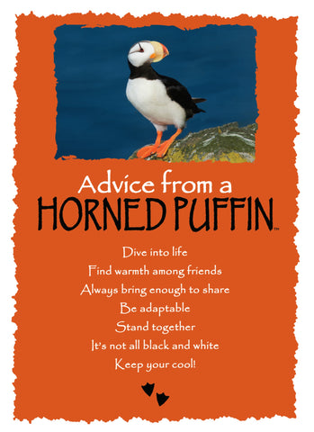 Advice from a Horned Puffin Greeting Card - Blank