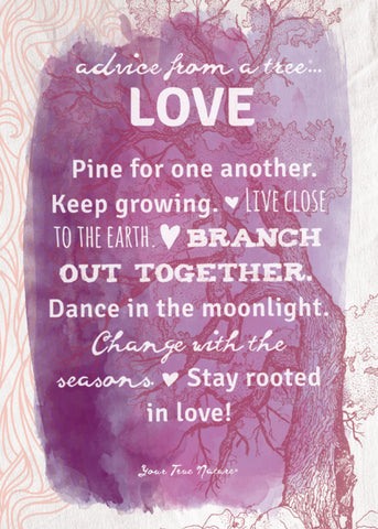 Advice from a Tree-Love-Purple Greeting Card - Blank