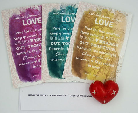 Advice from a Tree-Love-3 Color Greeting Card Set - Blank