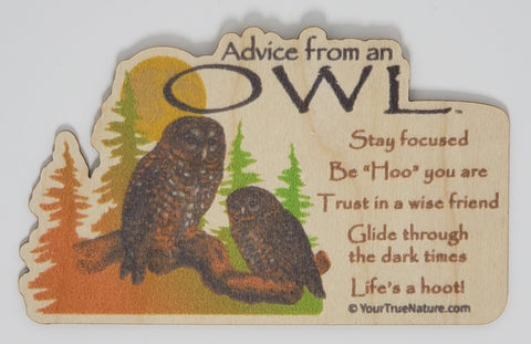 Advice from an Owl - Wood Sticker