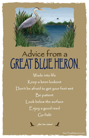 Advice from a Great Blue Heron Frameable Art Card
