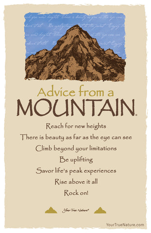 Advice from a Mountain - 7 line poem Frameable Art Card