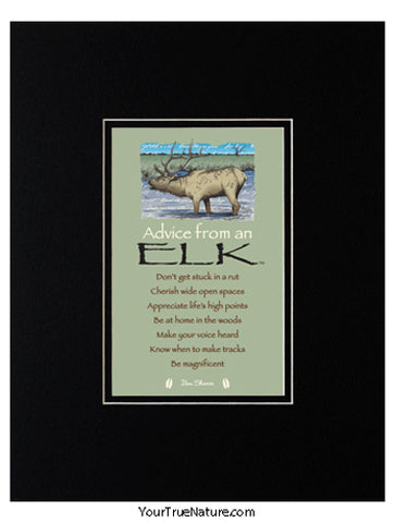 Advice from an Elk Matted Print