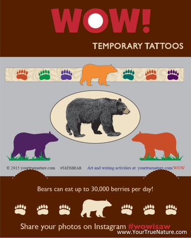 I SAW a Bear Temporary Tattoos