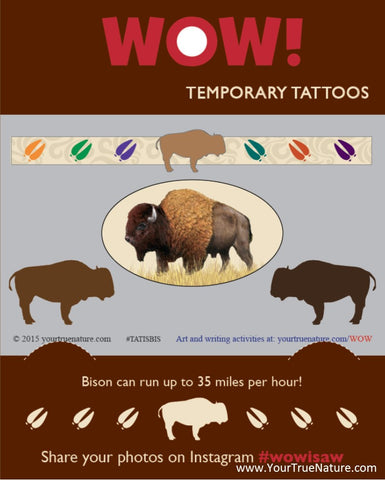 I SAW a Bison Temporary Tattoos