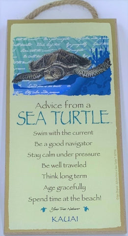 Advice from a Sea Turtle Hanging Wood Sign