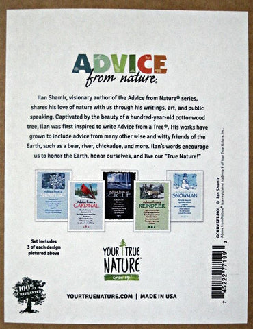 Advice from Nature Holiday Greeting Card Set (Blank 15 pack)