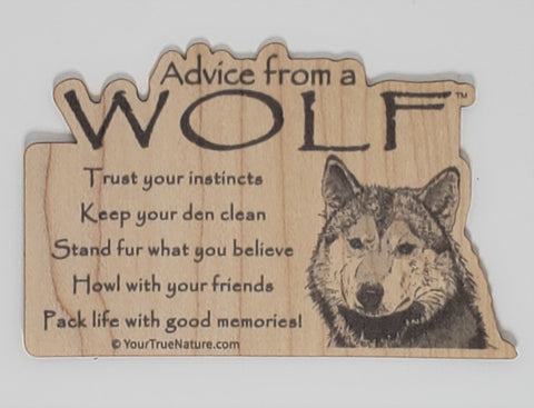Advice from a Wolf - Wood Sticker