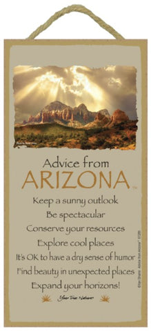 Advice from Arizona Hanging Wood Sign