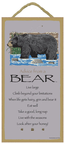 Advice from a Bear Hanging Wood Sign