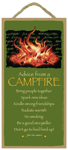 Advice from a Campfire Hanging Wood Sign