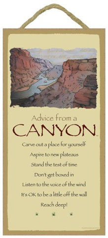 Advice from a Canyon Hanging Wood Sign