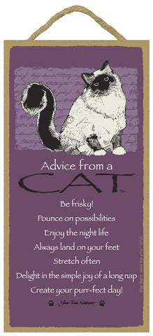 Advice from a Cat Hanging Wood Sign