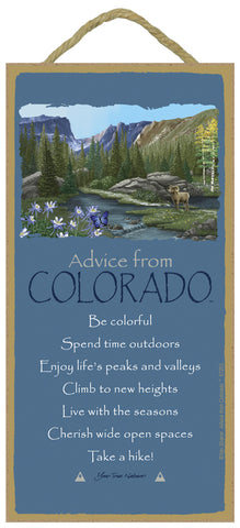 Advice from Colorado Hanging Wood Sign