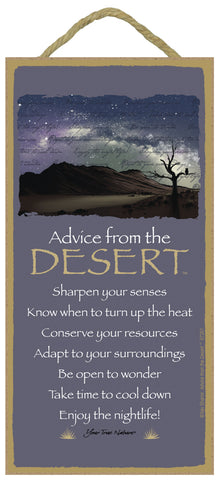 Advice from the Desert Hanging Wood Sign