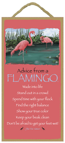 Advice from a Flamingo Hanging Wood Sign