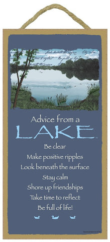Advice from a Lake Hanging Wood Sign