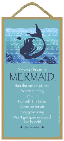 Advice from a Mermaid Hanging Wood Sign