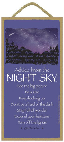 Advice from a Night Sky Hanging Wood Sign