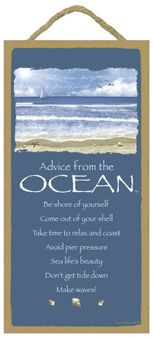 Advice from the Ocean Hanging Wood Sign