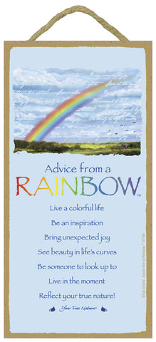 Advice from a Rainbow Hanging Wood Sign