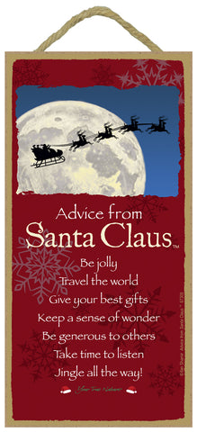 Advice from Santa Claus Hanging Wood Sign