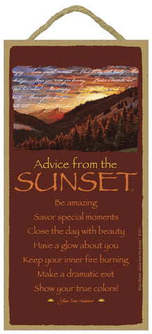 Advice from the Sunset Hanging Wood Sign