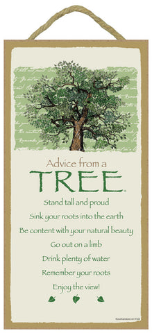Advice from a Tree Hanging Wood Sign