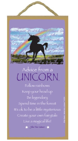 Advice from a Unicorn Hanging Wood Sign