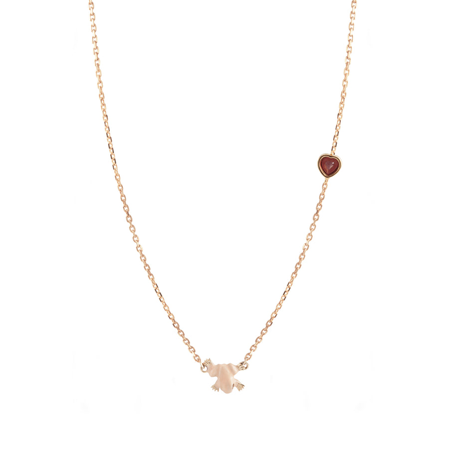 FROG NECKLACE WITH HEART CHARM