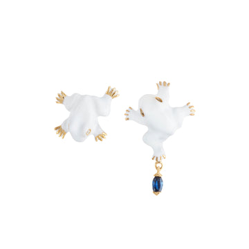 SET OF 2 FROG STUD EARRINGS WITH DANGLING PIECE ON ONE