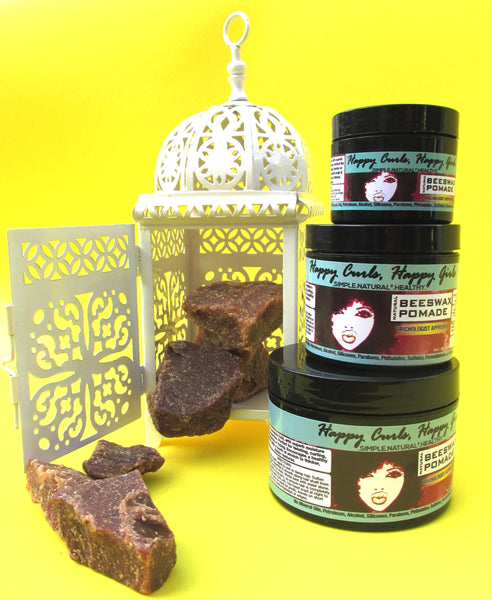Natural hair pomade based in beeswax for coarse hair