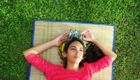 Happy girl on grass with wire headbands hair accessories