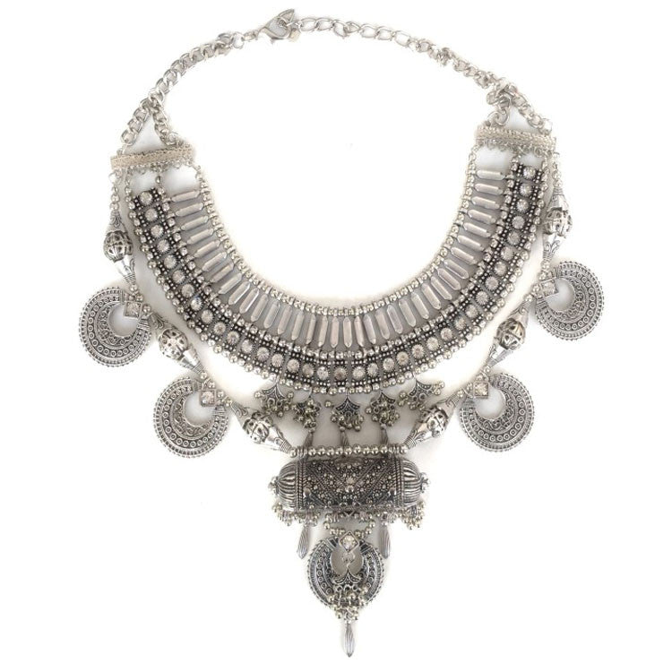 Aphrodite Oxidised Silver Coin Statement Bib Necklace
