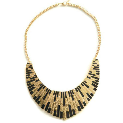 Black & Gold Shield Necklace