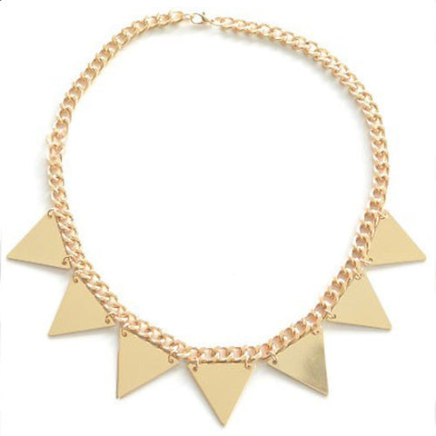 Gold Spike Pyramid Necklace