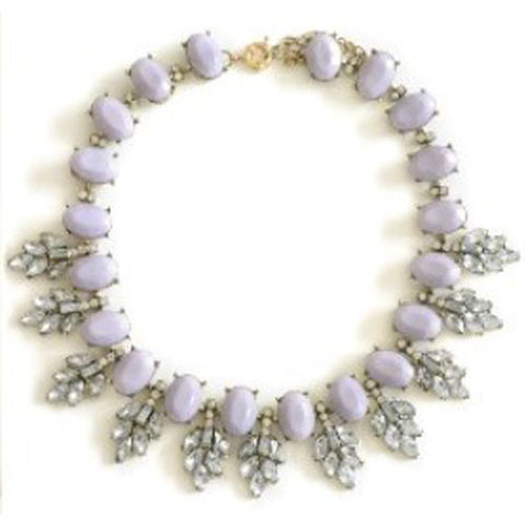 Grey Lilac Gem Stone Collar Necklace