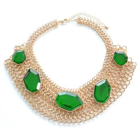 Multi Chain Emerald Green Gem Collar
