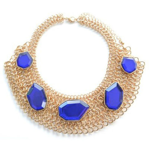 Multi Chain Royal Blue Gem Collar
