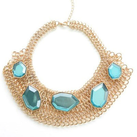Multi Chain Teal Gem Collar