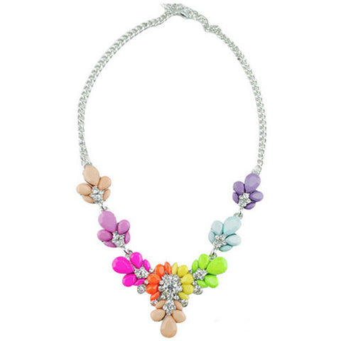 Multicoloured Floral Gem Stone Statement Necklace