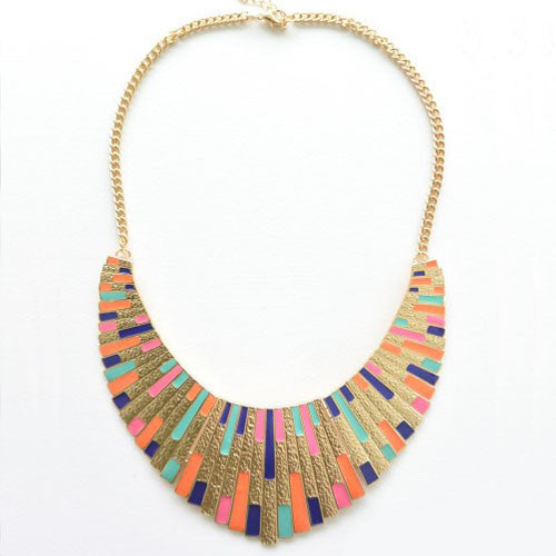 Multicoloured Gold Shield Necklace