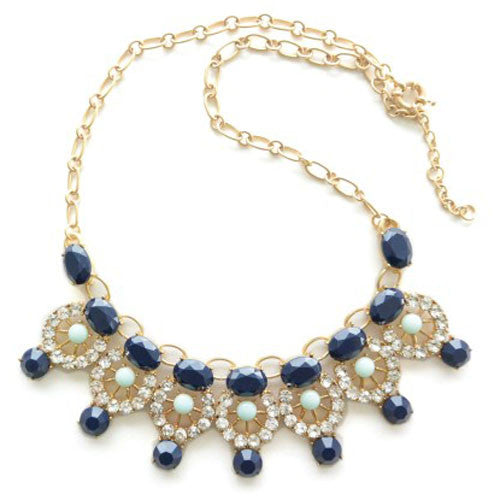 Navy & Mint Green Gem Stone Necklace