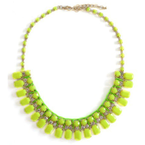 Neon Lime Green & Yellow Stone Collar Necklace