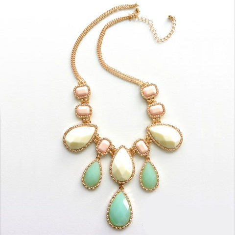 Pastel Teardrop Gem Necklace