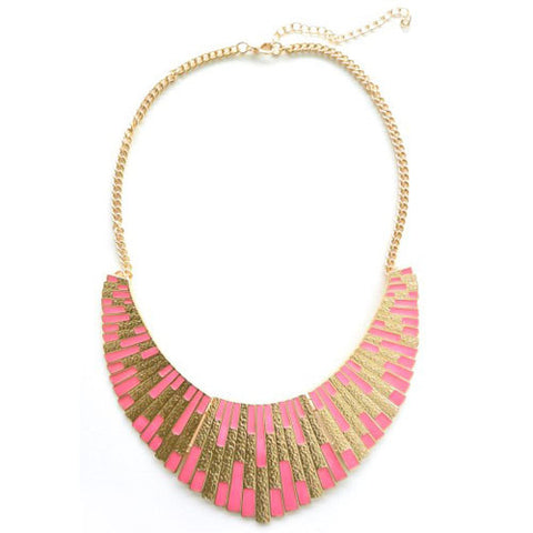 Pink & Gold Shield Necklace